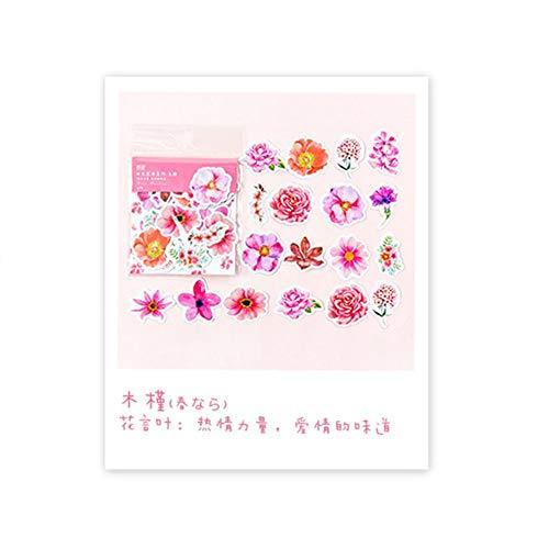 Blue Vesse 45 PCs DIY Blumen Aufkleber niedliche Tagebuch-Dekor Scrapbooking Flocken Schul Papier liefert (Hibiskus-Blume) - Papier Hibiskus-blumen