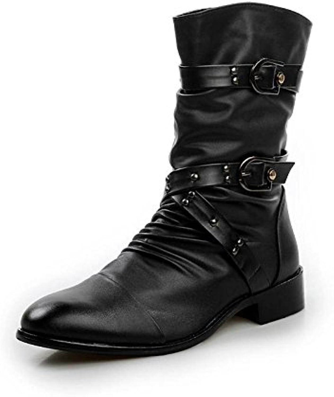 DHFUD Zapatos De Hombre Hombre Coreano Martin Botas Botas De Cuero Suave  -