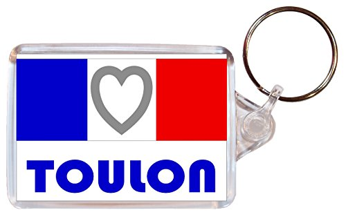 Toulon - Love France/French Towns & Cities Flag - Double Sided Large Keyring Souvenir/Gift/Present