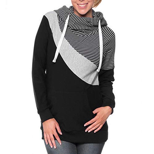Frauen Gestreiftes Patchwork Mutterschaft Schwangerschaft Hoodie Sweatshirt Top Mutterschaftskleid Zum Stillen Und Umstandsmode Mama Damen T-Shirt Oberteil Schwangere ()