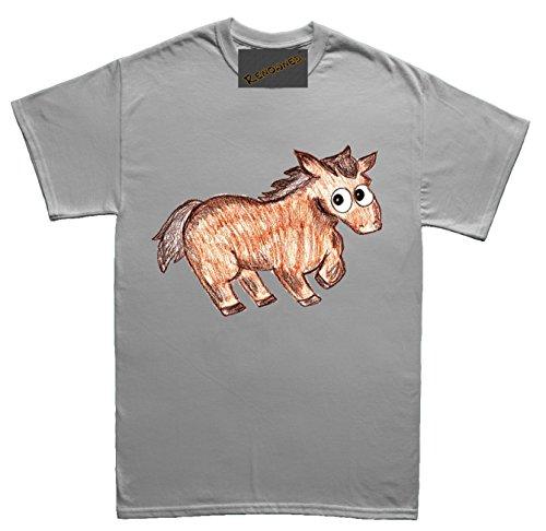Renowned Baby Horse Coloured Drawing Sketch Damen T Shirt Grau
