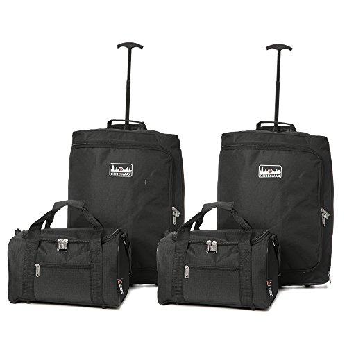 Vierteiliges Set Ryanair 55x40x20cm Maximal Größe Trolley Handgepäck Und 35x20x20 Tasche Reisetasche - Nehmen Sie beide mit! (Iata Cabin Trolley)