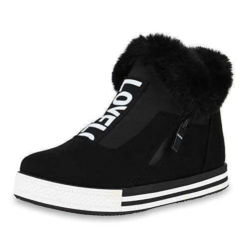 SCARPE VITA Damen Plateau Sneaker Warm Gefütterte Winter Turnschuhe Kunstfell 170762 Schwarz Schwarz Warm Gefüttert 37