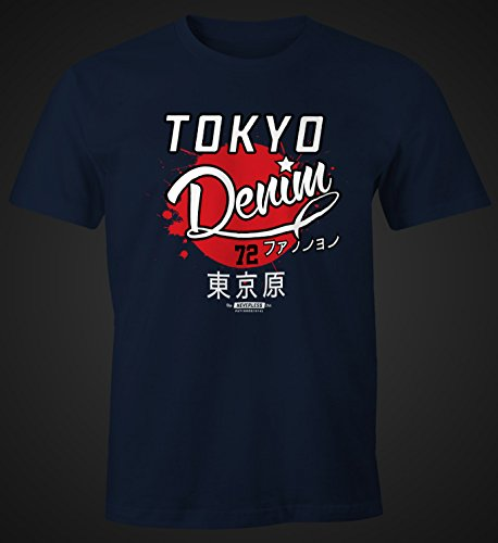 modernes Herren T-Shirt Tokyo Denim Moonworks® Tokyo navy