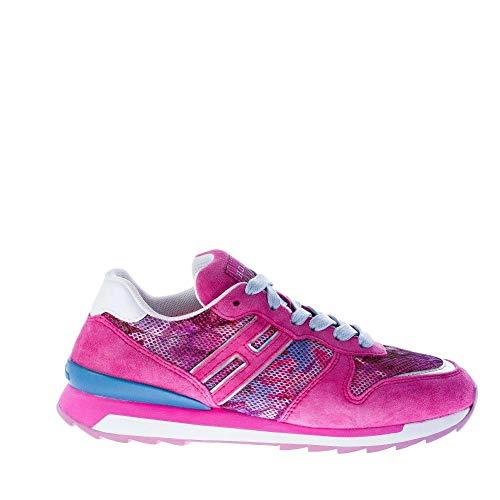 89695a9c14a36 Hogan Rebel Sneaker Bassa in camoscio più Tessuto Fuxia usato Spedito  ovunque in Italia