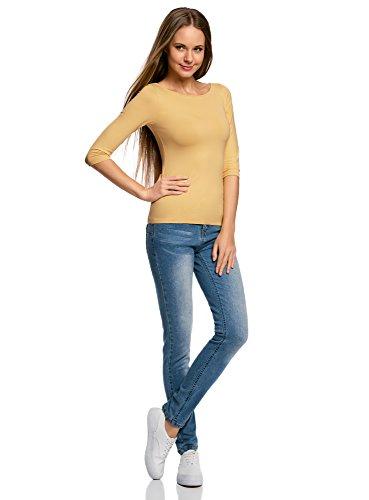 oodji Collection Donna T-Shirt Basic con Maniche a 3/4 Giallo (5200N)