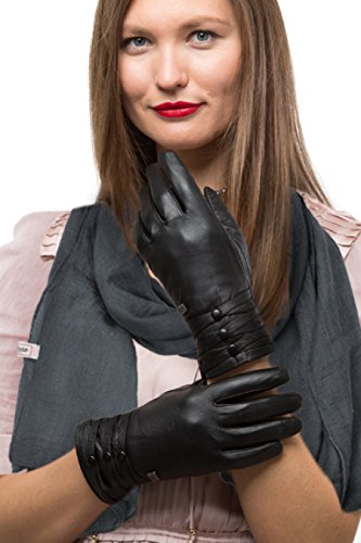 - 41xLOGDzHLL - Fashion Sheepskin Leather Gloves For Women, Cold Weather TouchScreen – Thinsulate Lined Long Sleeve Gloves – Button Design – With Thinsulate Liner