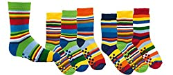 TippTexx 24 6 pairs of children's thermal stopper socks, ABS socks for girls and boys, Ökotex standard, stockings with knobbed soles, many patterns (good mood stripes, 31-34)
