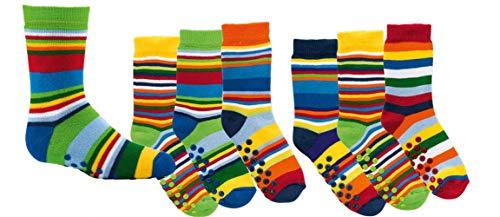 TippTexx 24 6 Paar Kinder Thermo Stoppersocken, ABS Socken für Mädchen und Jungen, Ökotex Standard, Strümpfe mit Noppensohle, viele Muster (Gute Laune Ringel, 35-38) -