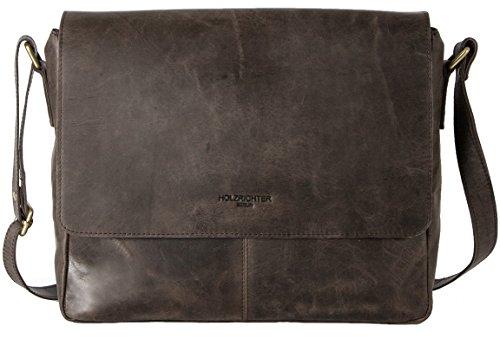 HOLZRICHTER Berlin - Premium Umhängetasche (S) aus Leder - Handgefertigte Messenger Bag im Vintage Design - Ledertasche für Herren und Damen - dunkel-braun -