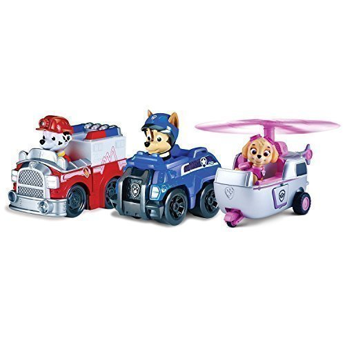 SKYE + CHASE + MARSHALL Paw Patrol RACERS TEAM PACK Set 3 Mini Vehículos al Rescate La Patrulla Canina