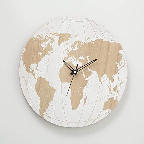 Immo Traveller Wanduhr World D39cm Natur MDF Welt Uhr