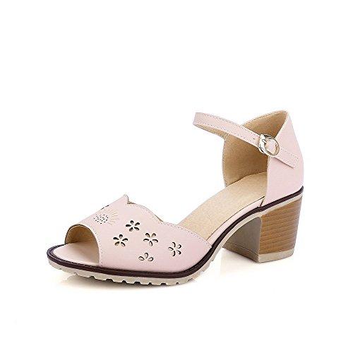 AllhqFashion Damen Weiches Material Fischkopf Schuhe Rein Mittler Absatz Sandalen Pink