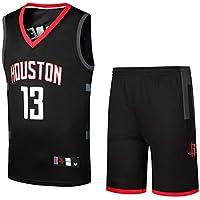 Camiseta Unisex Jersey de Baloncesto para Hombres, Jersey Rockets 13# James Harden, Camiseta de Baloncesto de Tela Transpirable, Ropa Deportiva-Black-M
