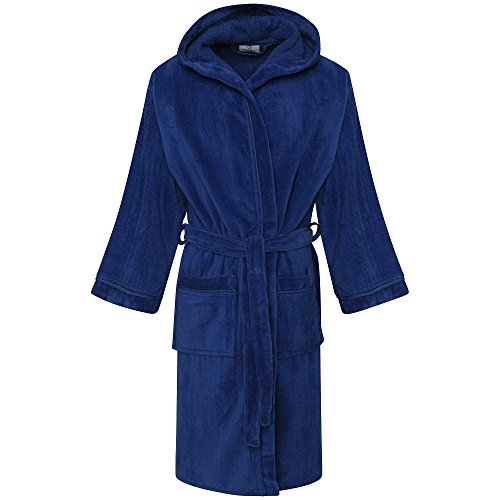 FINLAYS FASHIONS BOYS KIDS HOODED BATHROBE TOWELLING DRESSING GOWN ROBE, 100% EGYPTIAN COTTON (8-10 Years, Royal Blue)