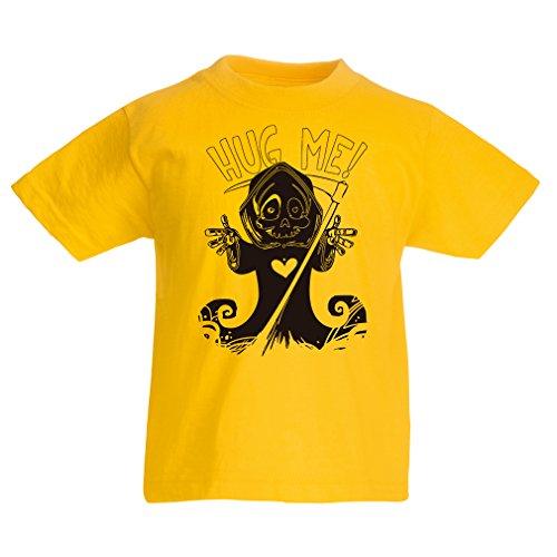 Kinder T-Shirt Der Tod kommt! Halloween Skelett Kleidung, böse Schädel Sichel (5-6 years Gelb (Diy Kostüm Tod)