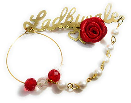 Jain saab Ladkiwale Golden Gold Plated Metal with Red Rose Brooch for Men and Women -25 Pieces