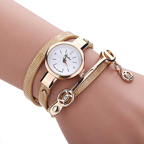 Cwemimifa Herren Damen Armbanduhr Ultra-flach Slim-Uhr mit Leder-Armband,Frauen Metallarmbanduhr GD,Gold