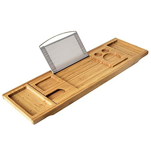 Npotwdt Badewannenablage Bambus und Holz Multifunktionsablage rutschfeste Ablage Badewannenablage