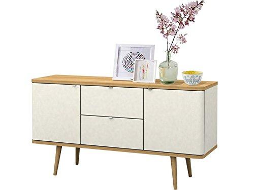 Sideboard ANNE aus Spanplatte foliert in weiß und eiche im modernen Retro Design