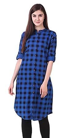 NxtSkin Women's Cotton Printed Straight Kurti (Blue, 38)