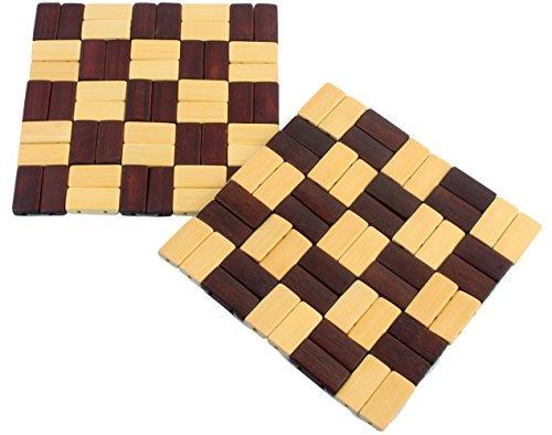 SG Trading Bambus Untersetzer/Pfanne Topflappen Wärmedämmung Pad, Quadratisch 14cm14cm, 2-Teiliges Set (zufällige Muster) -