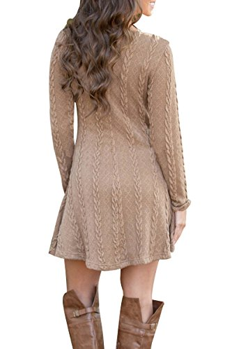 YMING Donna Casual Sweater Dress Knitted Dress Knitwear Maglia manica lunga maglione Top Cachi