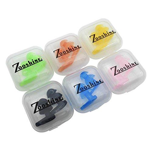 Juego de 6 tapones para los oídos, tamaño infantil, para natación y con caja, de Zooshine , Infantil, multicolor