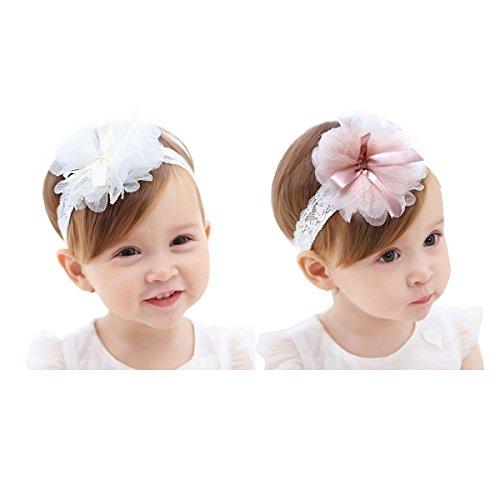 Hocaies 2 Stück Baby Kinder Haarband Mädchen Stirnband Kopfband Blumen Blüte Haarschmuck Headband Hairband Babygeschenke Taufe Geschenksets (M - für 6 Monate-4 Jahre alt)