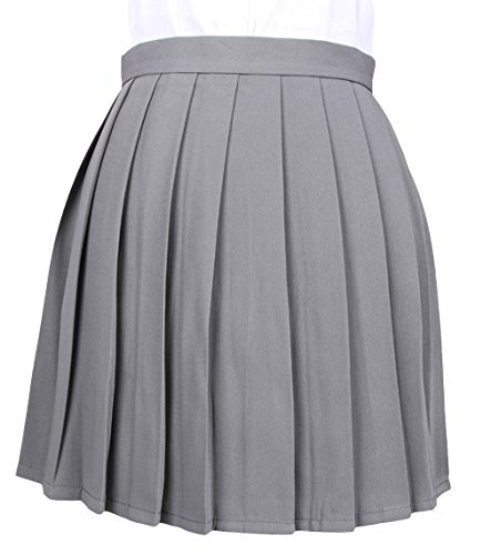 men A-Linie Schule Uniform Rock Minirock Grau Maße4(XL) (Kostüm-schule)