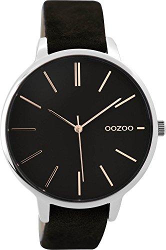 Oozoo Damenuhr mit Lederband 42 MM Schwarz/Schwarz C9214