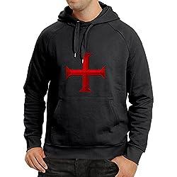 lepni.me Sudadera con Capucha El templarios - Cruz de Templar (Small Negro