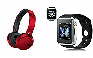 MIRZA Extra Bass XB650 Headphones & A1 Bluetooth Smart Watch for HTC ONE M9(XB 650 Headphones,With MIC,Extra Bass,Headset,Sports Headset,Wired Headset & Bluetooth A1 Smart Watch Wrist Watch Phone with Camera & SIM Card Support Hot Fashion New Arrival Best Selling Premium Quality Lowest Price with Apps like Facebook, Whatsapp, Twitter, Sports, Health, Compatible with Android iOS Mobile Tablet-Assorted Color)