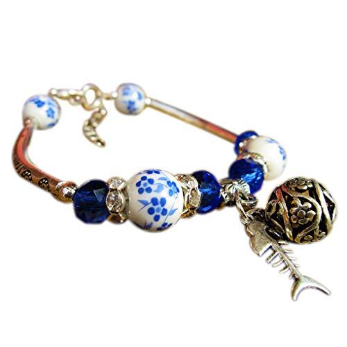 Windy5 Ethnische Art Keramik-Korn-Legierungs-Armband-Frauen-Fisch-Knochen-Armband-Armband-Mädchen-Handgelenk Schmuck Souvenirs