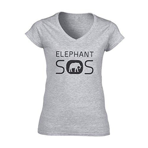Elephant Sos Logo White Animal Damen V-Neck T-Shirt Grau