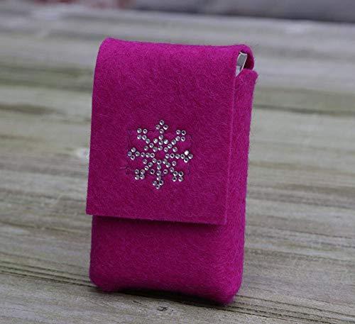 zigbaxx Zigarettenetui CHRISTMAS SNOW Zigarettenhülle für Zigarettenschachtel 20 Zigaretten oder Big Box XL/XXL aus Woll-Filz/Strass - anthrazit rot pink grau beige braun - Geschenk Xmas Weihnachten - Xxl Snow