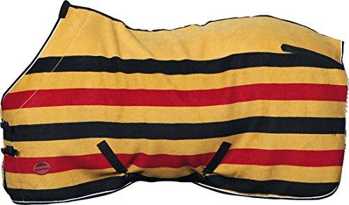 Amesbichler Weatherbeeta Fleecedecke   Abschwitzdecke, 145 cm   Transportdecke Golden Stripe Fleece Cooler atmungsaktiv schnell trocknend maschinenwaschbar  Gold/schwarz/rot