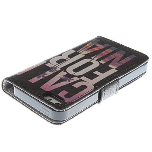 CaseLike Colored disegno Premium PU Pelle Flip Custodia Protettiva Case Cover Per Apple iPhone 55S Wallet con Card Slots & Cash Scomparto, Supporto dual Shell iphone55s#1 iphone55s#85