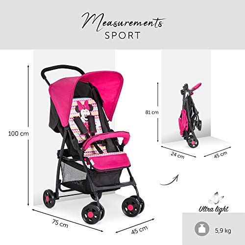 Hauck Sport Lightweight Pushchair up to 18 kg with Lying Position from Birth, Easy and Compact Folding, Bumper Bar, Large Shopping Basket - Minnie Geo Pink