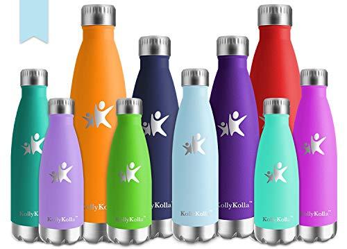 KollyKolla Botella de Agua Acero Inoxidable, Termo Sin BPA Ecológica, Botellas Termica Reutilizable Frascos Térmicos para Niños, Deporte, Oficina, Yoga, Gimnasio, Ciclismo, (750ml Azul Cielo)