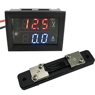 Yeeco DC4.5-30V 50A Digital DC Voltmeter Amperemeter Testing Spur Current Monitor Volt Amp Tester V / A Panel Meter-Multimeter mit Shunt Rot Blau Dual-LED-Anzeige für Auto-Motorrad-Batterie
