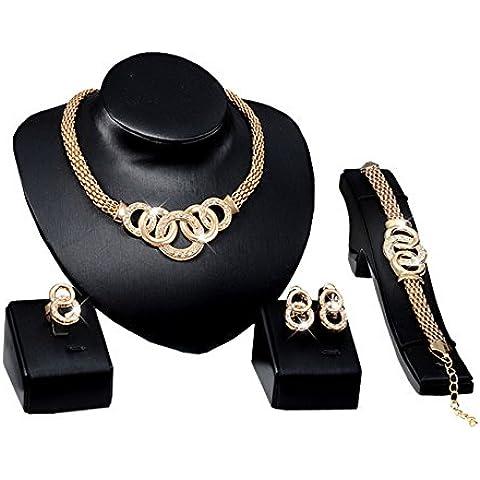 Party collana orecchino bracciale anello gioielli Parure