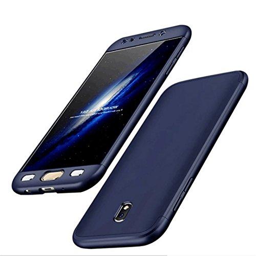 Samsung Galaxy J7 2017 Hülle Hardcase 3 in 1 Handyhülle Ultra Dünn Hartschale 360 Grad Full Body Schutz Handytasche Backcover Schutzhülle Anti-Kratzer Elegant Stoßfest Hart PC Skin Rückdeckel Glatte Bumper - Blau (Libelle-pen Gehäuse)