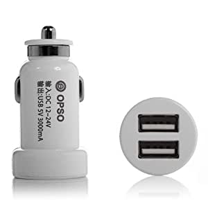 OPSO 15W 3A Dual USB 2 Port Car Charger Vehicle Power Adapter for Apple iPhone 5S 5 5C 4S 4 3G 3GS,iPad 1 2 3 4,iPad Mini,iPod Touch,iPod Nano,Samsung Galaxy Note 3 Note III N9000,Galaxy Note 2 Note II N7100,Galaxy S3 S III i9300,Galaxy S4 S IV i9500,HTC