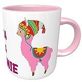 Rosa Kaffeetasse No Drama-Lama mit Wunschnamen, Henkeltasse, Kaffeebecher, Fröhliche Two-Tone-Tasse mit rosa Henkel und Innenleben, Sprüchetasse mit 2 lustigen Lamas, Bürotasse, NO DRAMA LLAMA