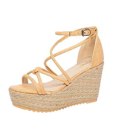 Hunpta Frauen Sandalen Weibliche Keil Plattform Schuhe Elegante High Heel Sandalen Beige
