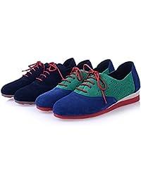 de Kakaka Zapatos de Mujer Zapatillas de Deporte Plano de la Manera Atan para Arriba Estilo de Lona 41P0xu3q