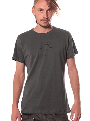 Herren T-Shirt mit Psychodelischem Street Art Pilz Aufdruck - handgefertigt durch Siebdruck - Street Habit Dunkelgrau