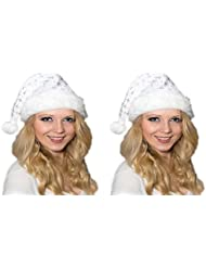 2 er Set Weihnachtsmütze Nikolausmütze Weiß Plüsch mit Glitzer Staub Dicker Fellrand Mütze X25