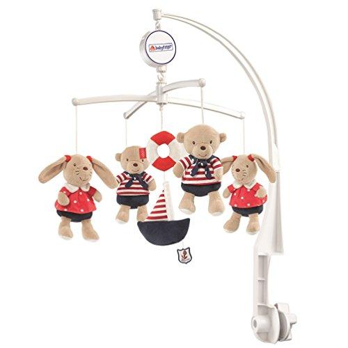 Fehn 078190 Musik-Mobile Ocean Club – Spieluhr-Mobile mit Teddys im Matrosenlook zum Lauschen & Staunen – Zum Befestigen am Bett für Babys von 0-5 Monaten – Höhe: 65 cm, ø 40 cm